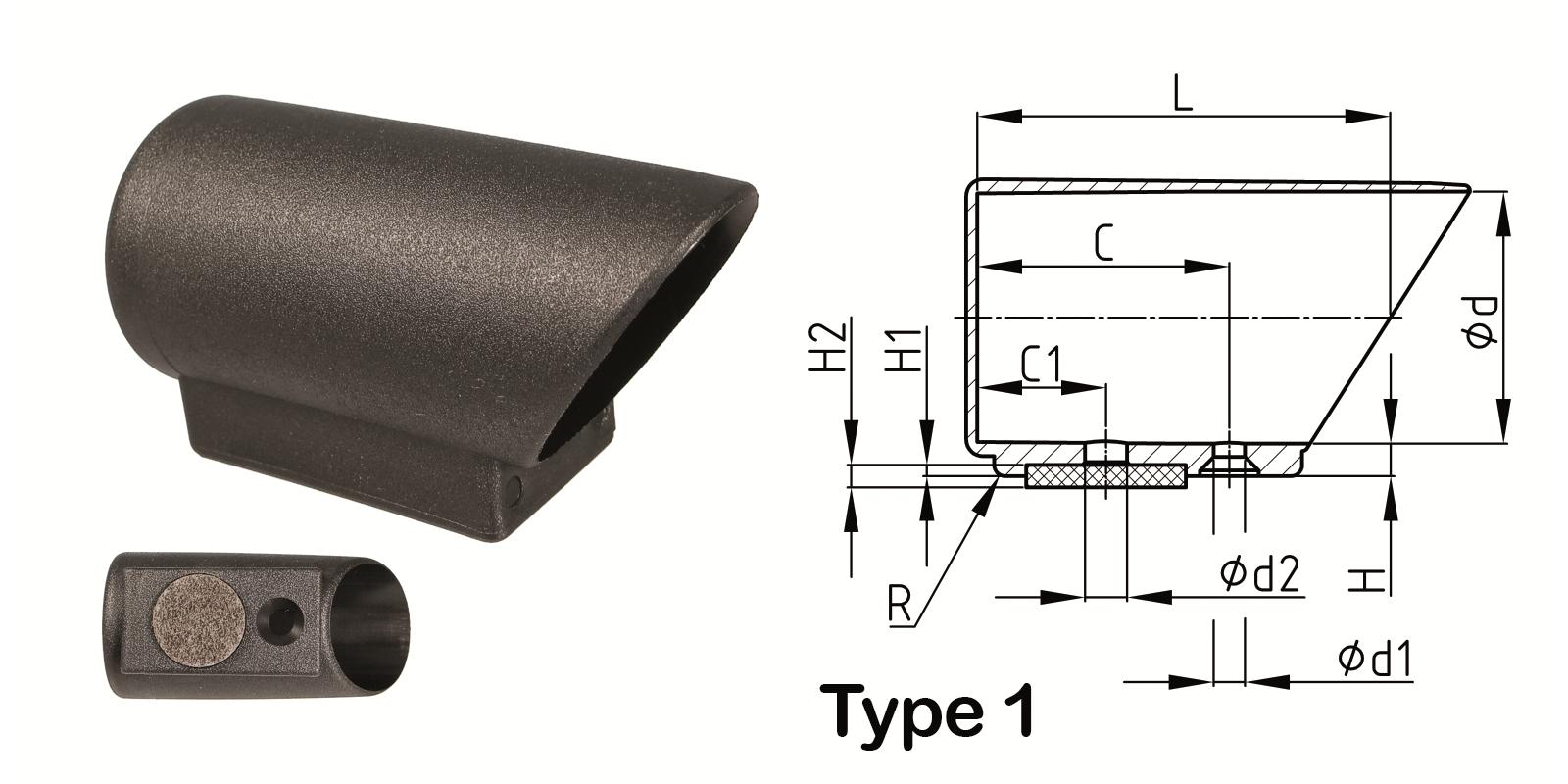 Orkf felt glide heavy duty round nylon angle slide cap